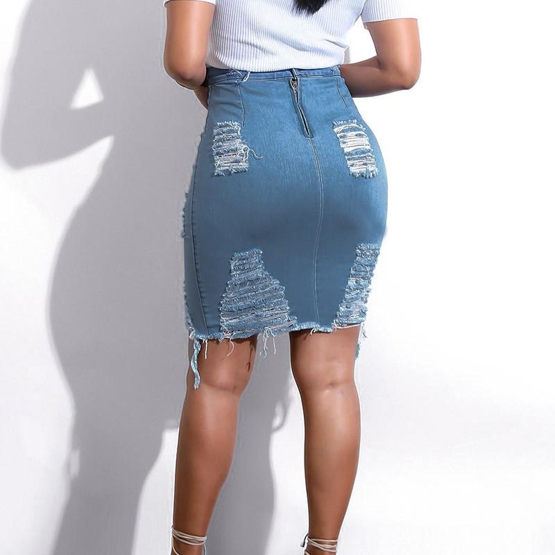 Ladies//Womens High Waist Ripped Denim Distressed Bodycon Pencil Jean Skirt YX