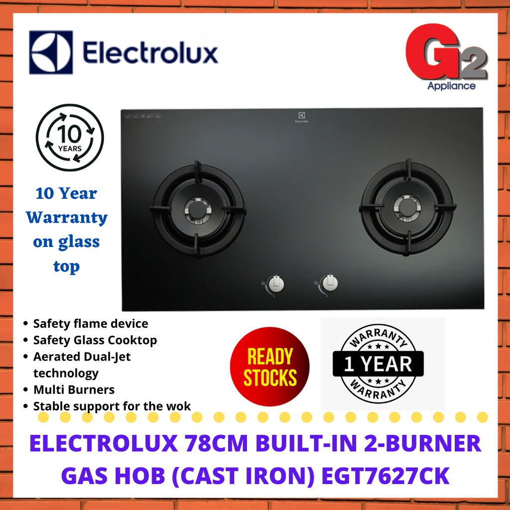 ELECTROLUX 78cm BUILT-IN 2-BURNER GAS HOB (CAST IRON) EGT7627CK - ELECTROLUX WARRANTY MALAYSIA