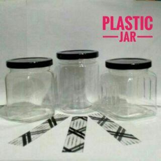 c6b146455b58 20pcs] 300ml CLEAR (Round/Hexagon/square) PET JAR + PLASTIC SEAL ...