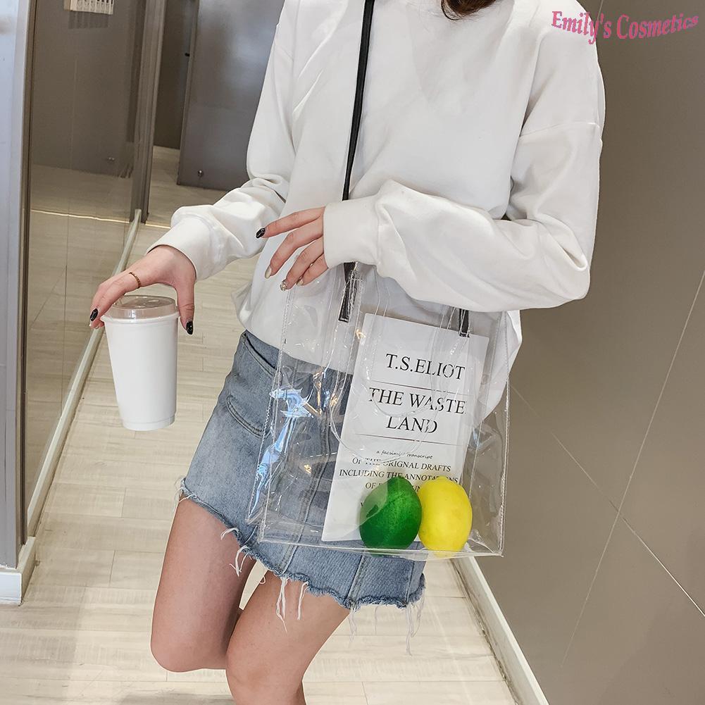 Sling BagsClear Women Satchel Jelly Transparent Plastic Summer Beach Messenger Bags