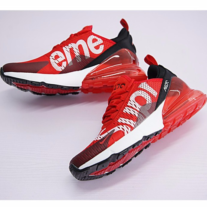 new concept 2fdee 8a9ef Nike Air Max 270 x Supreme Shoes Men Airmax 27c Running Shoes Sport  Sneakers Red