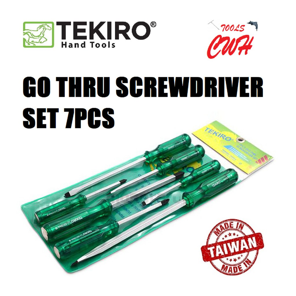 TEKIRO SD-GT0932 GO THRU SCREWDRIVER SET 7 PCS PHILIP(+) SLOTTED(-) TEKIRO MADE IN TAIWAN GO THRU SCREWDRIVER SET