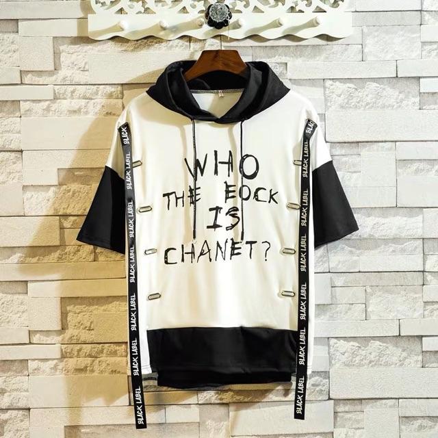 [S~2XL]Japanese short-sleeved loose printed hiphop hooded sweater潮牌日系春夏短袖t恤男五分袖宽松印花嘻哈hiphop中袖连帽卫衣