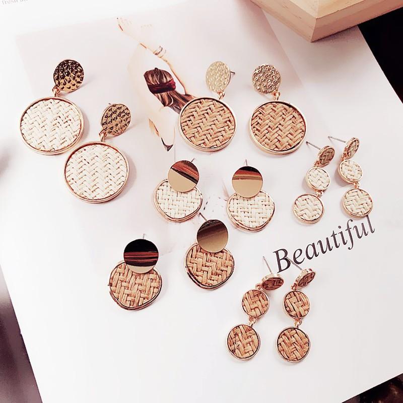 New Korea Handmade Wooden Straw Weave Rattan Vine Braid Big Circle Square Long Drop Earrings For Girl