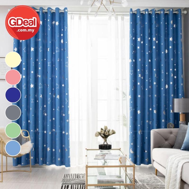 GDeal【Thick Curtains】Ring Eyelet Langsir Tebal UV Blackout Curtain Star Moon Langsir 100cmx130cm