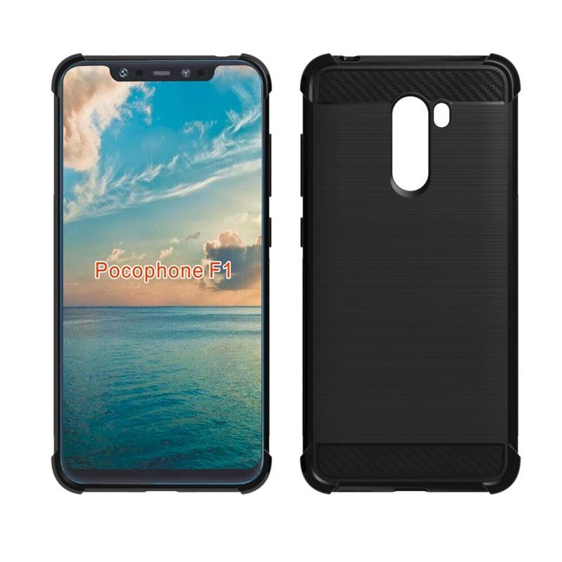 brand new 9c057 94775 Xiaomi Pocophone F1 Case Carbon Fiber Shockproof Flexible TPU Rubber Cover