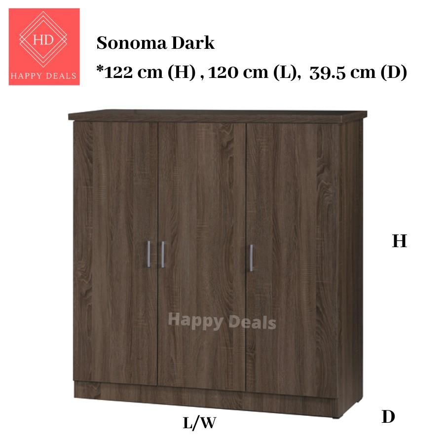 HD DIY Premium 3-Doors  6-Compartments Wooden Wardrobe / Almari Berpintu / High Quality Wardrobe/Magic Wardrobe SU 3599