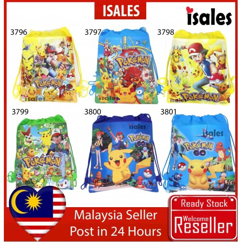 ISALES Drawstring Bags Pokemon Party Bags Door Gift Backpack Goodie Bag