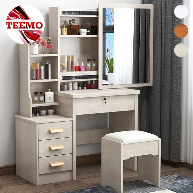 Teemo Modern Vanity Dressing Table Bedroom Makeup Table Storage Cabinet Integrated Dressing Table With Padded C Shopee Malaysia