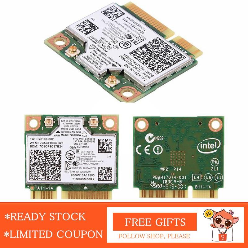 🚚 Intel 7260AC 7260HMW Dual Band WiFi Bluetooth 4 0 Wlan Card 04X6010