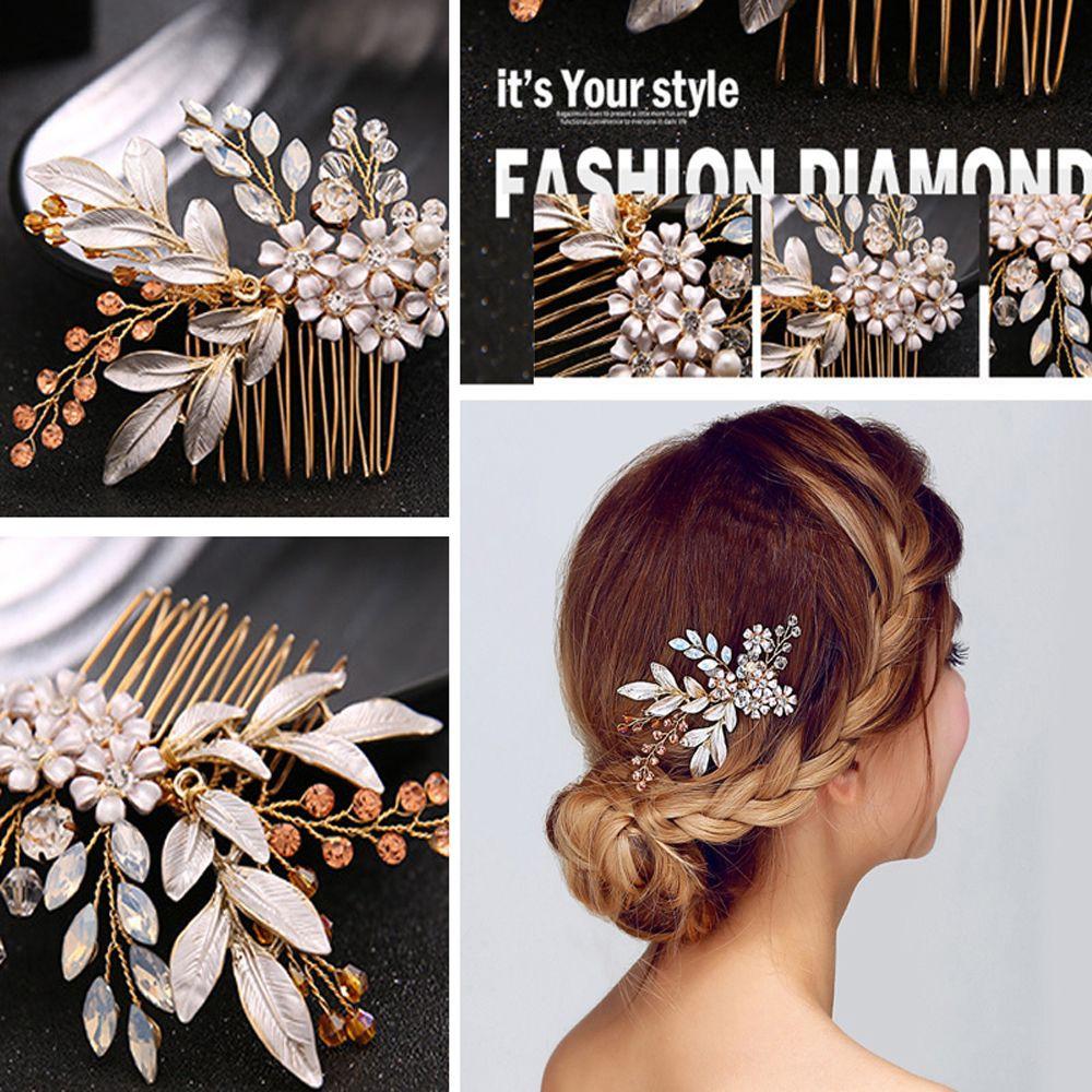 pins handmade flower head clip crystal hair comb bridal headpiece hairwear