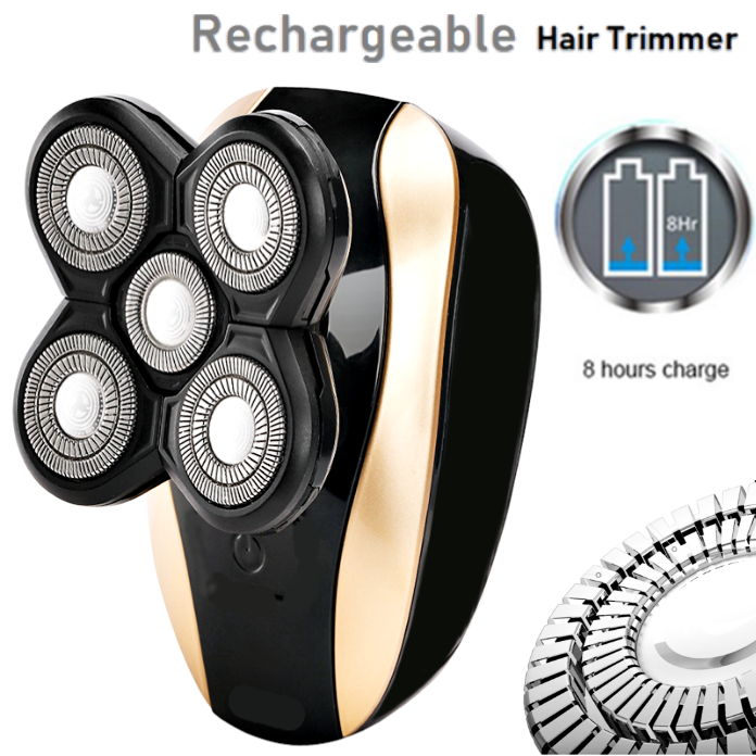 Rechargeable Quintuple Head Electric Hair Trimmer Clipper Shaver Beard Razor Kit with LCD Power Display Screen