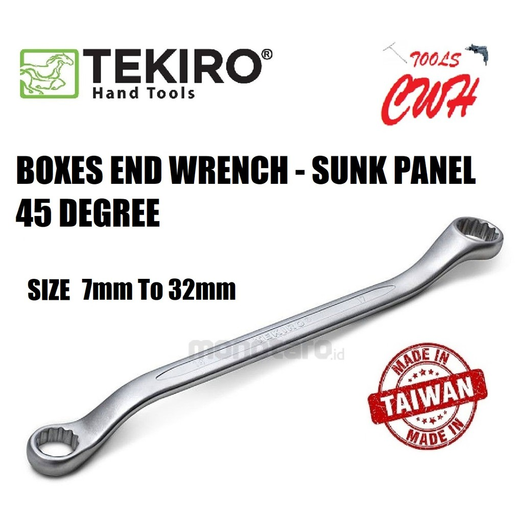 TEKIRO WR-BE0117 TILL WR-BE0135 (7mm To 32mm) BOXES END WRENCH - SUNK PANEL 45 DEGREE TEKIRO MADE IN TAIWAN