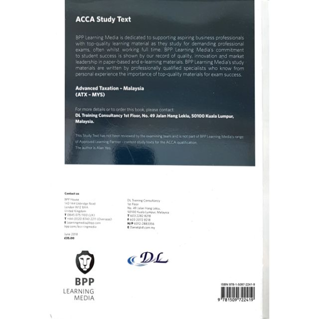 ACCA BPP Advanced Taxation (ATX - MYS) Study Text | Shopee