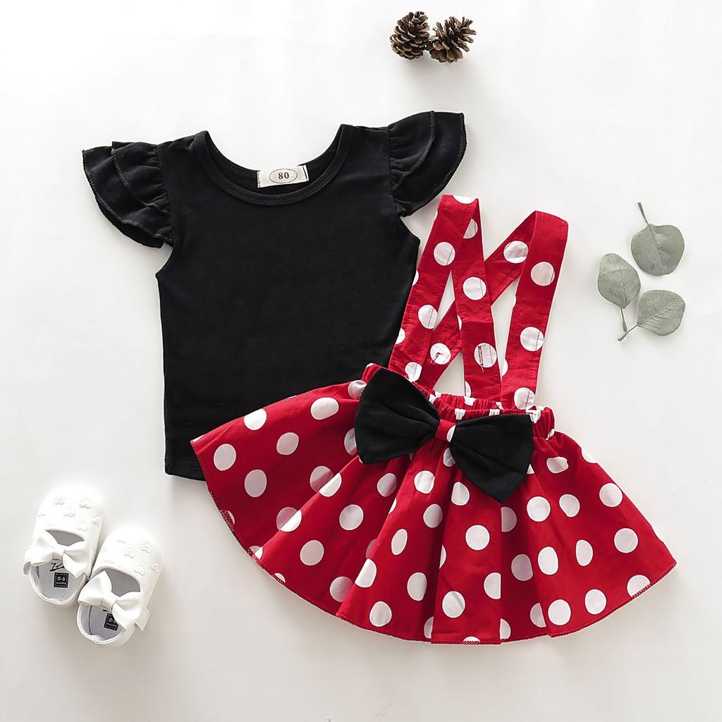 Girl coat~ Baju Baby Girl Dress Minnie Mouse Dress Baby Girl Clothing Set  Baju Kanak4 Perempuan Toddler Baby Shirt Top and Polka dot Suspender Skirt