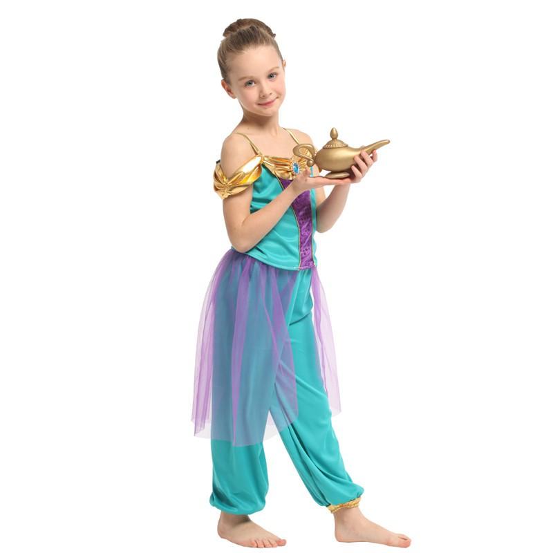 15e4adbcd6dcf Girls Aladdin's lamp Cosplay Kids Children Halloween Arabian Costume Dress