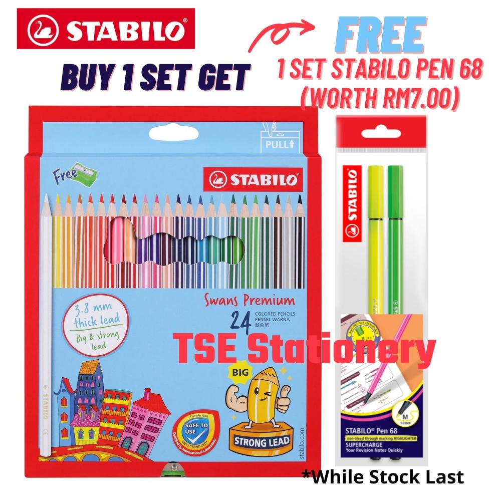 *Free Stabilo 68* Stabilo Swans Premium 24 Long Colour Pencils  Colour Pencil / Color Pencil Pensel Warna 1869B