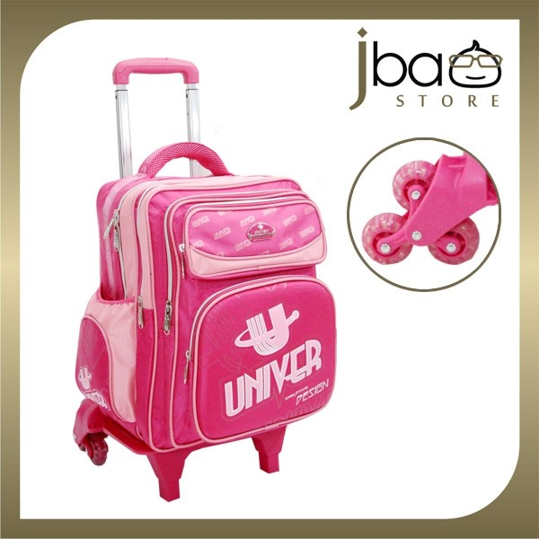 Univer 6 Wheels Trolley School Bag Kid Primary Backpack (Pink)