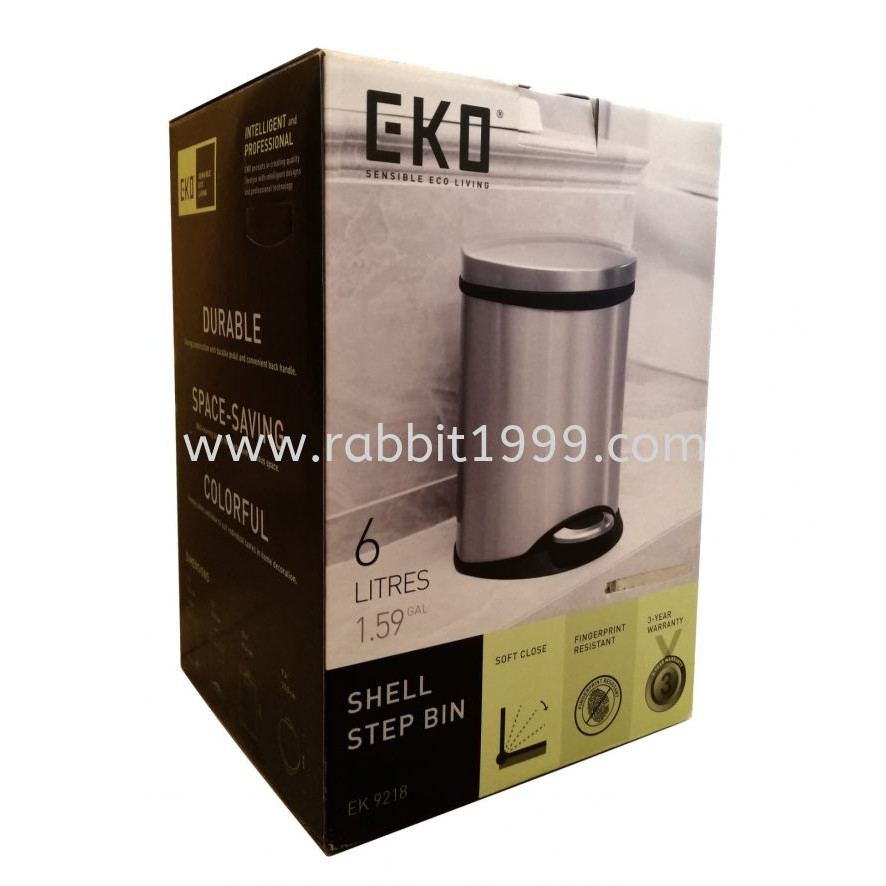 EKO SHELL STEP BIN - EK9218 - 6Lt - EKO bin / EK 9218 / eko step bin / small dustbin / small trash bin / eko shell step