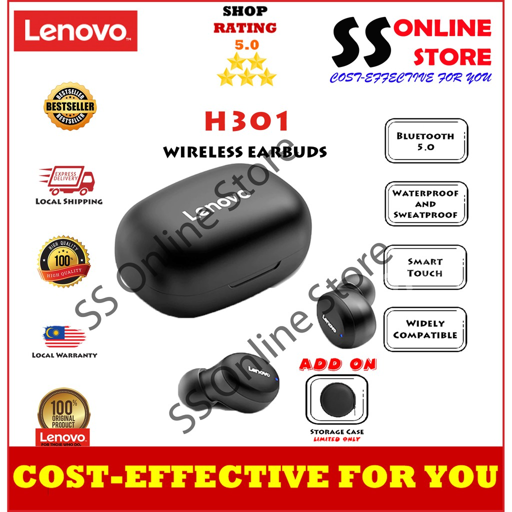 Lenovo H301 TWS Wireless Bluetooth 5.0 Earphone Touch Control Headset 12H Battery Life Sport Earbuds With Mic Charging