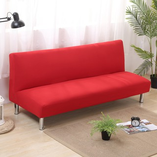 Groovy Red Solid Color Stretch Armless Sofa Bed Covers Slipcover Download Free Architecture Designs Scobabritishbridgeorg