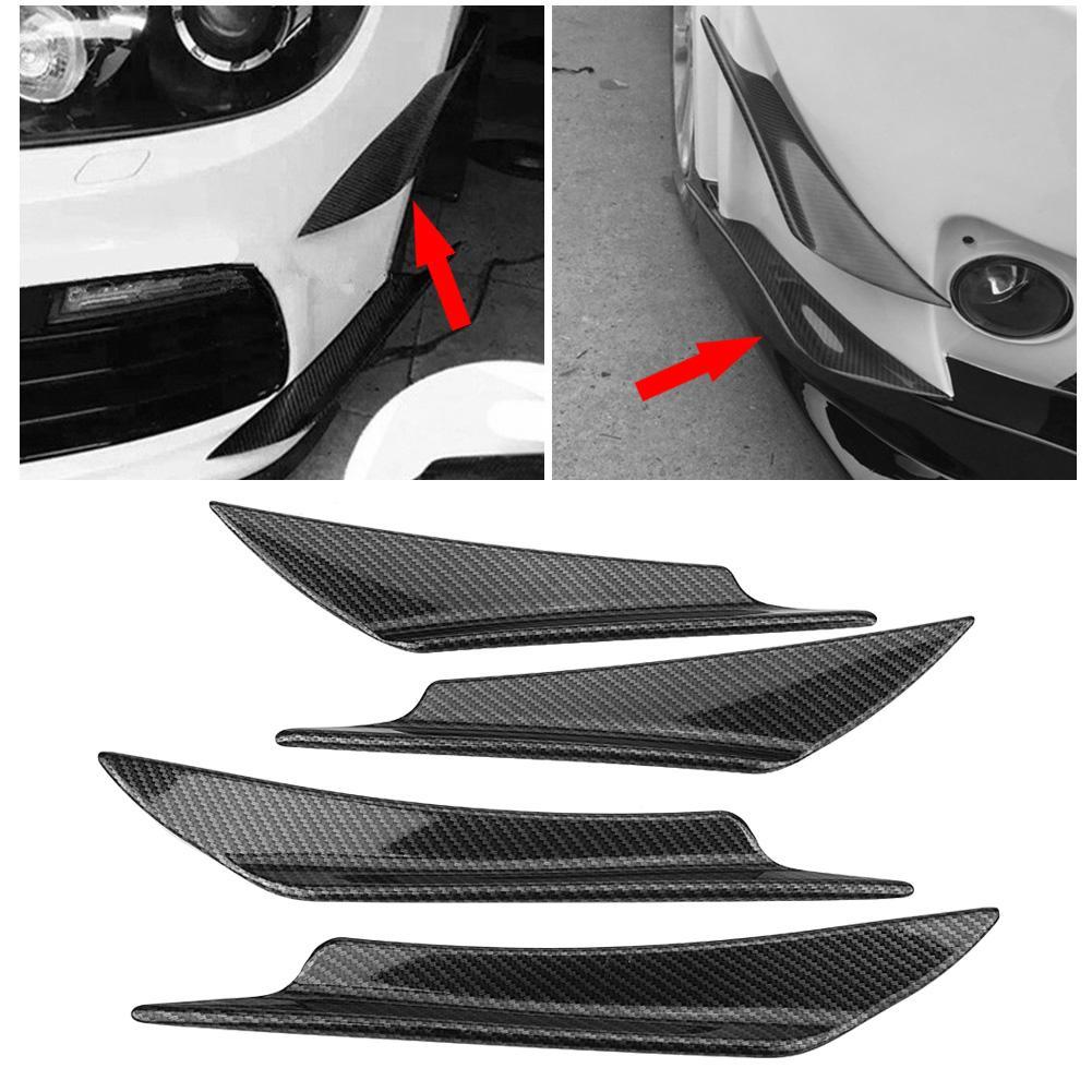 Carbon Fiber Front Lip Splitter Fins Body Spoiler Canards Refit Bumper Trim KI