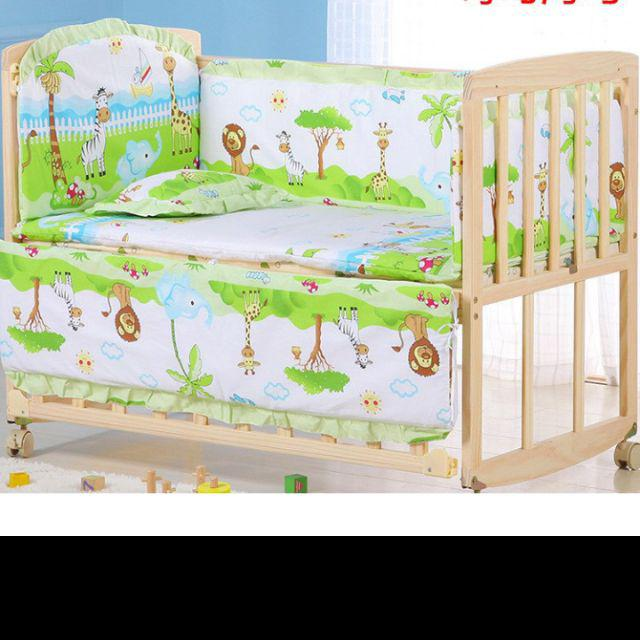 Baby Bed Crib Bumper Breathable Infant Kids Nursery Bedding Set Safely Three bears 120x65cm
