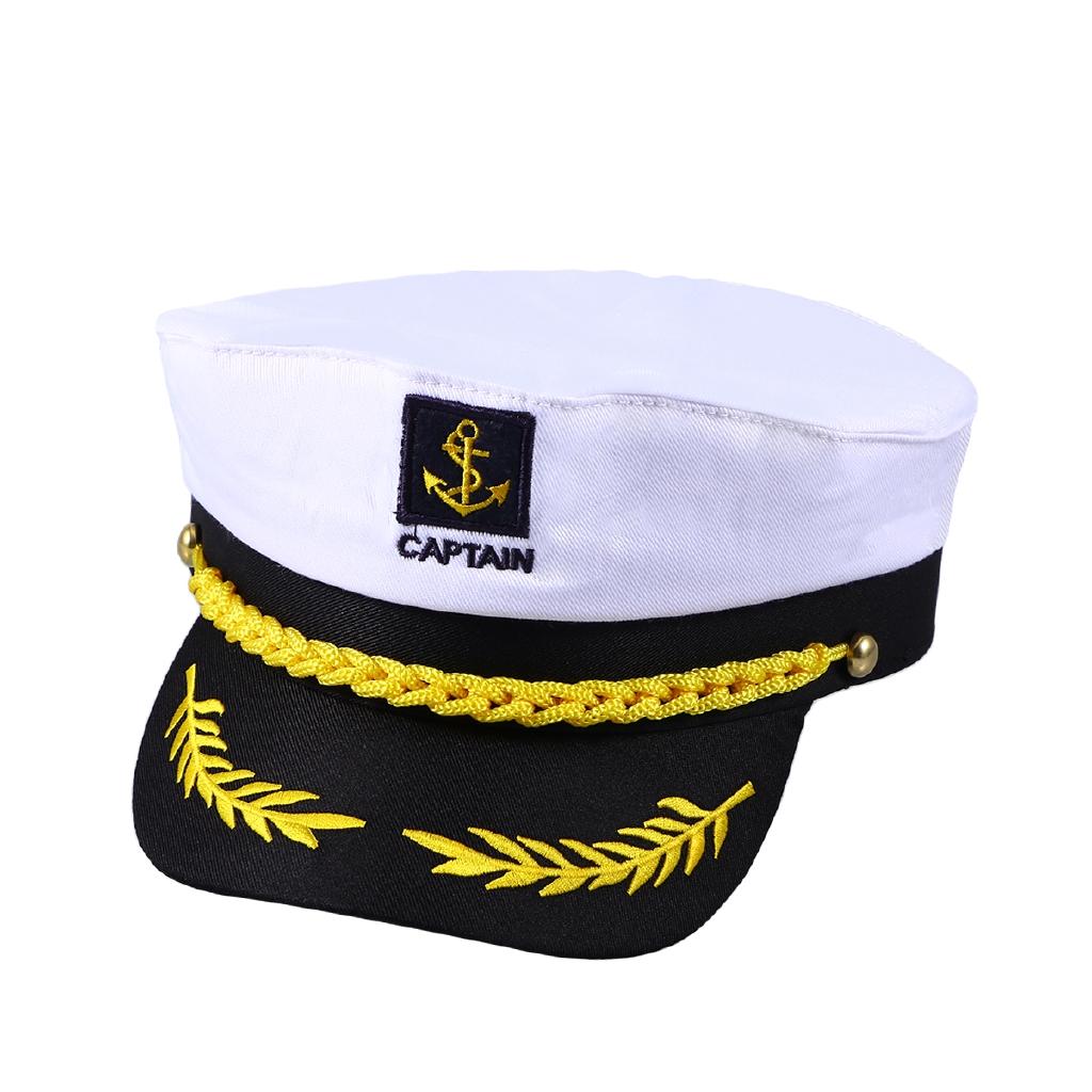 f4b38dcbf Adult Yacht Boat Ship Sailor Captain Costume Hat Cap Navy Marine Admiral  (White)