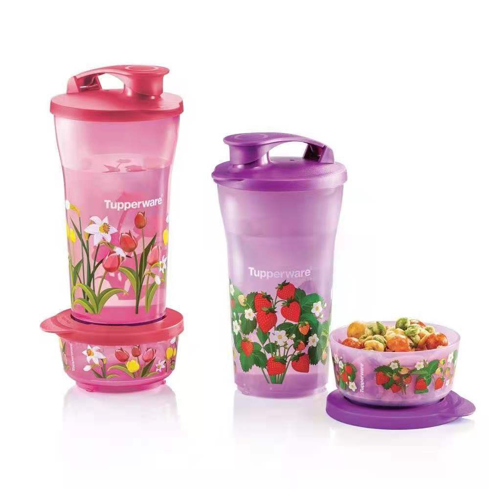 Original Tupperware Quench & Snack Set (Red or Purple)