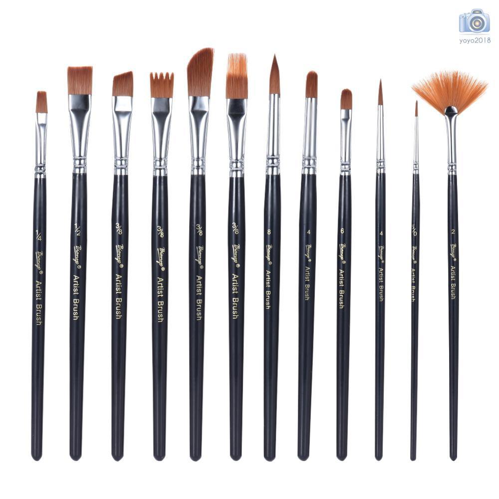 Tip Painting Brushes Set Artist High Quality ART Paint Brush Sets 12pcs Flat