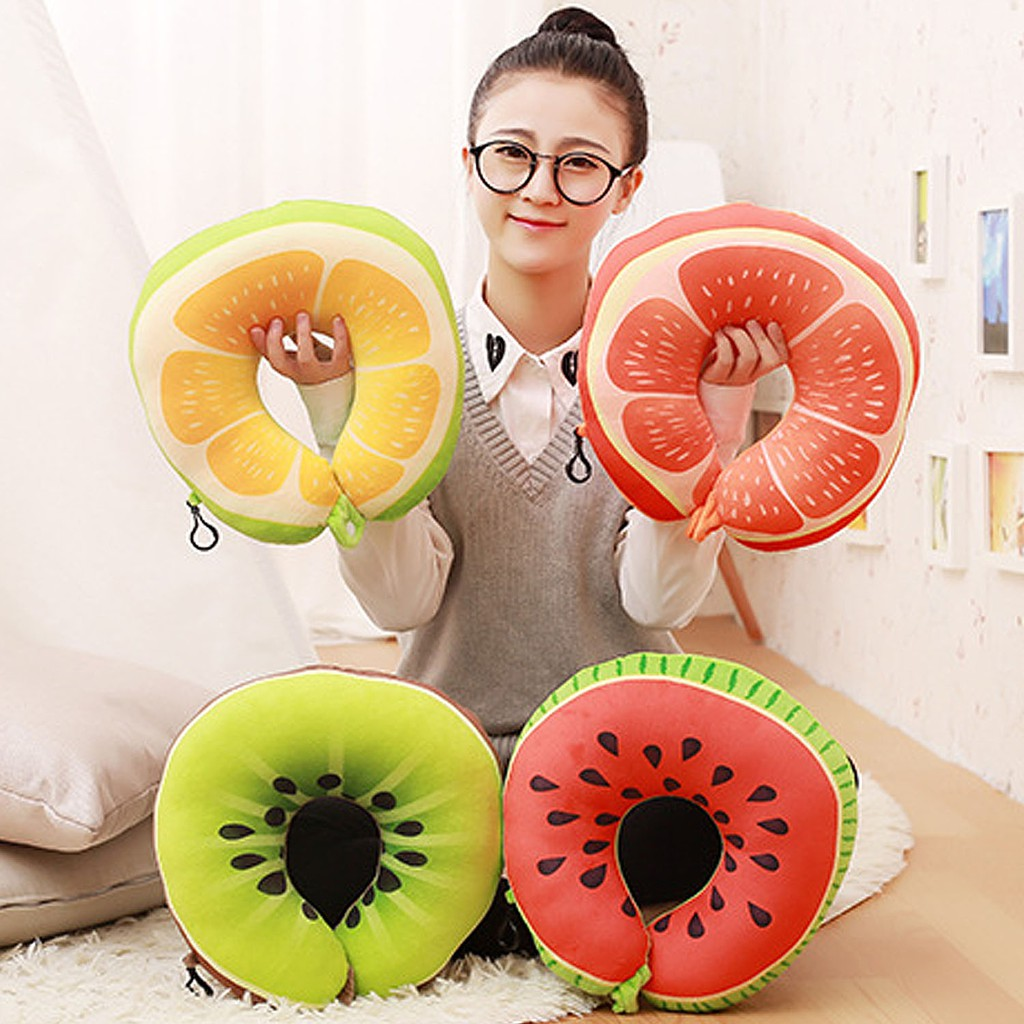 Garden Pots & Planters Hanging Baskets Frank Fruit U Shaped Pillow Nap Travel Pillow Car Neck Pillow Watermelon Lemon Kiwi Orange Pillows Soft Cushion Home Office Using