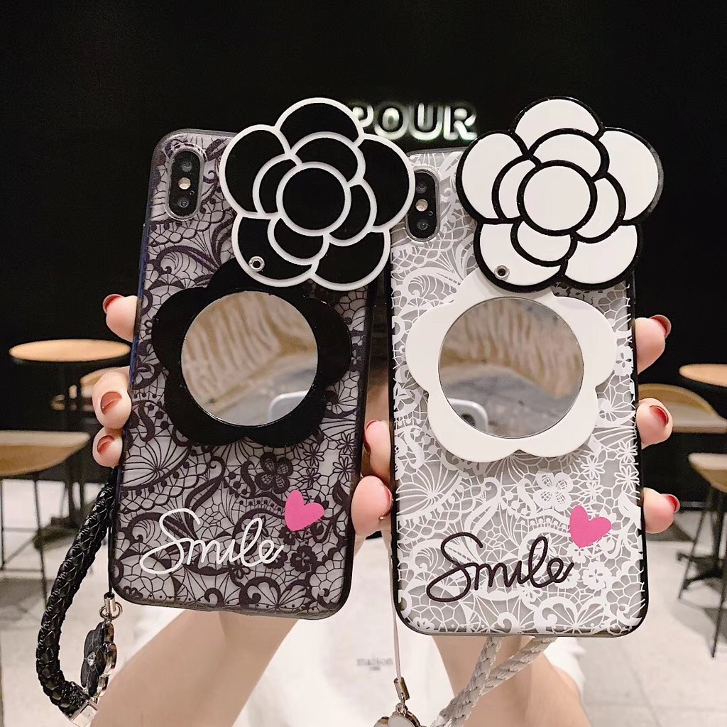 Huawei Mate 9/9Pro Set Lace Camellia Jewelry Makeup Mirror Soft Case Cover