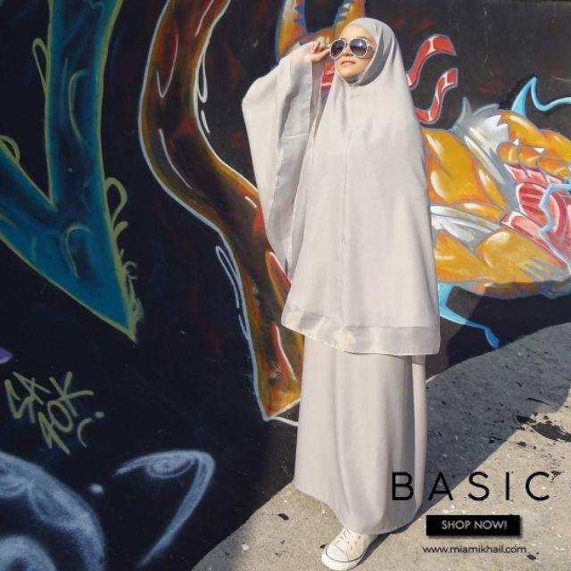 MIA MIKHAIL: Basic Silver 2in1 Premium Telekung/Hijab