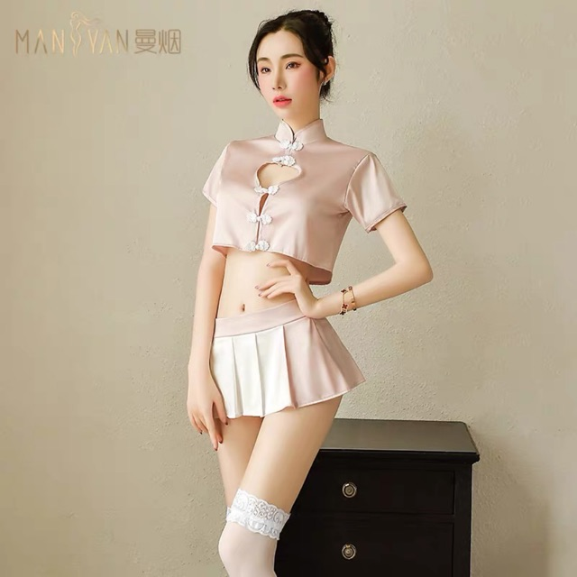 [Free Size]Nightwear Sexy short cheongsam uniform suit 性感情趣内衣骚开裆透明睡衣旗袍制服诱惑丝袜挑逗激情套装超骚女
