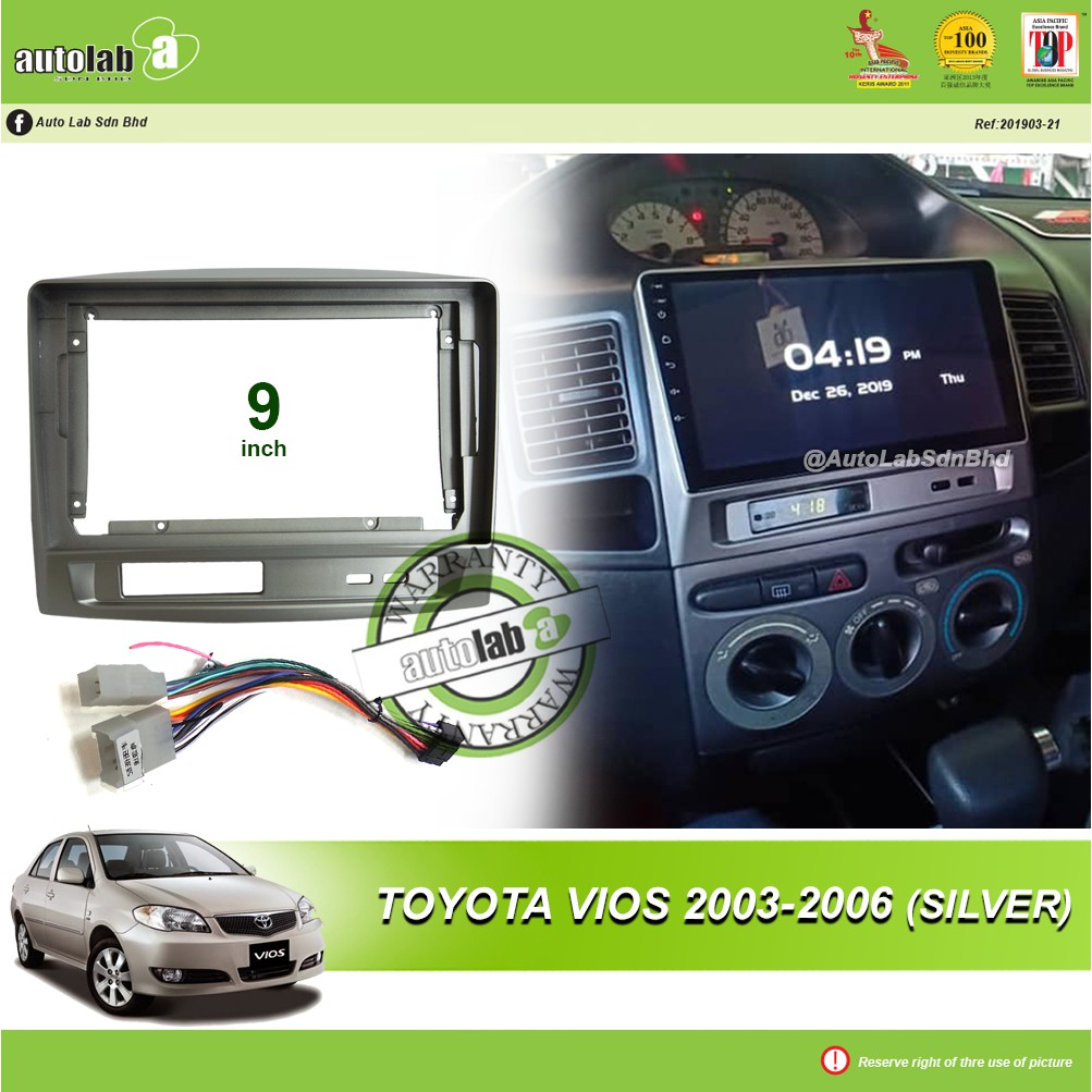 """Android Player Casing 9"""" Toyota Vios 2003-2006 (Silver) with Socket Toyota 2H"""