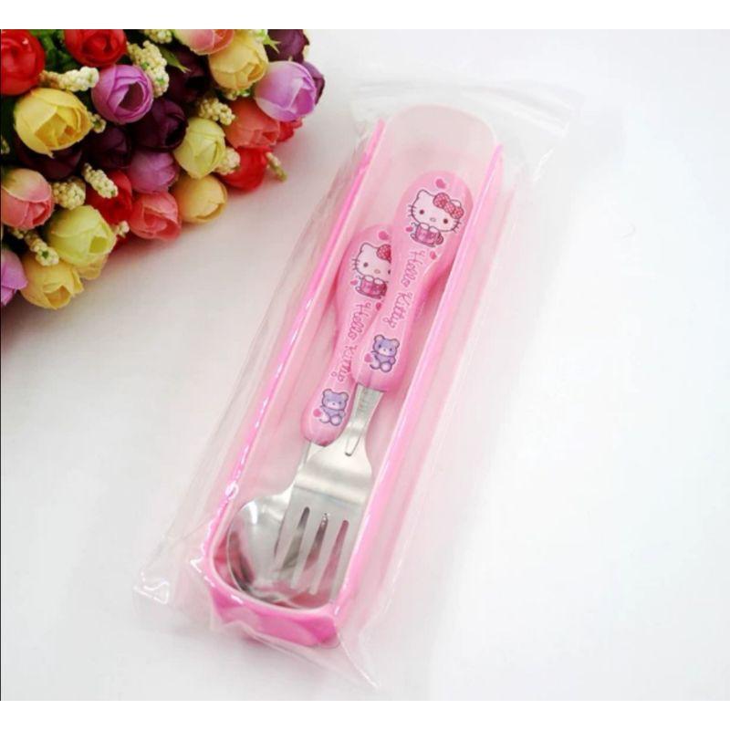 [ READY STOCK ]  Cute Cartoon Children Girl  Dinner Retractable Dinner Set Kit Case Set Mini Size