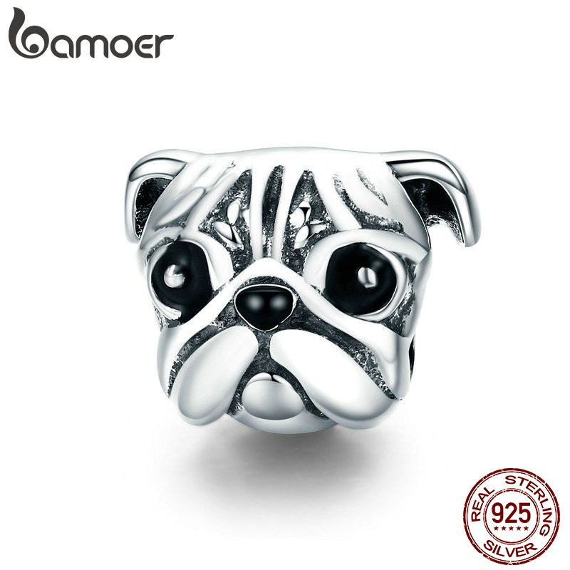10Pcs Antique Silver Bulldog Charm Bead with Lobster clasp Fit Charm Bracelet