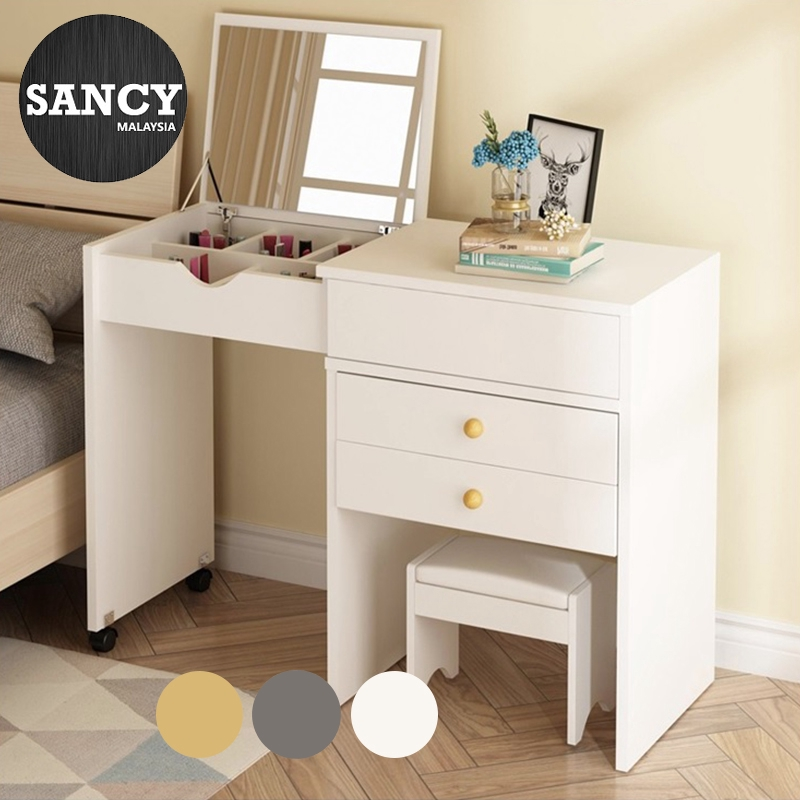 Sancy Simple Modern Wooden Foldable Mirror Dressing Table Bedroom Moveable Nightstand Makeup Table Cabinet With 2 Wheels Shopee Malaysia