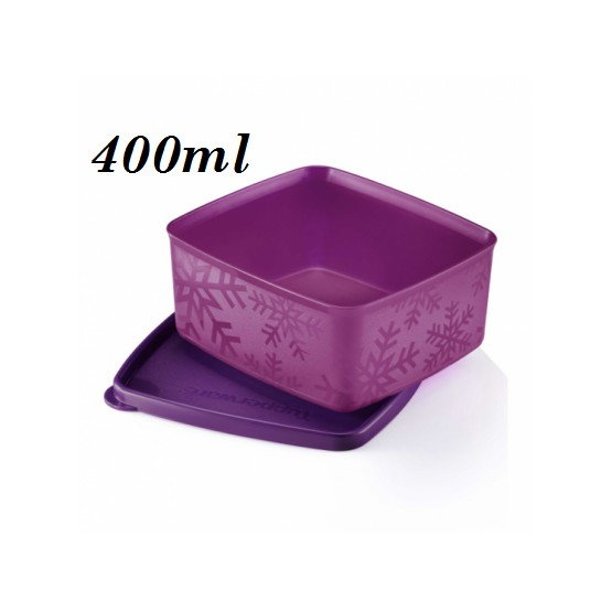 Tupperware Purple Snowflakes Square Round 400ml 1pc