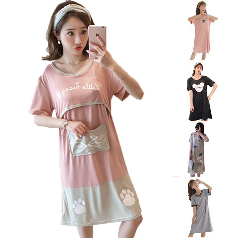 bf42d36591787 Sleeping dress for short sleeve breast-feeding pregnant women