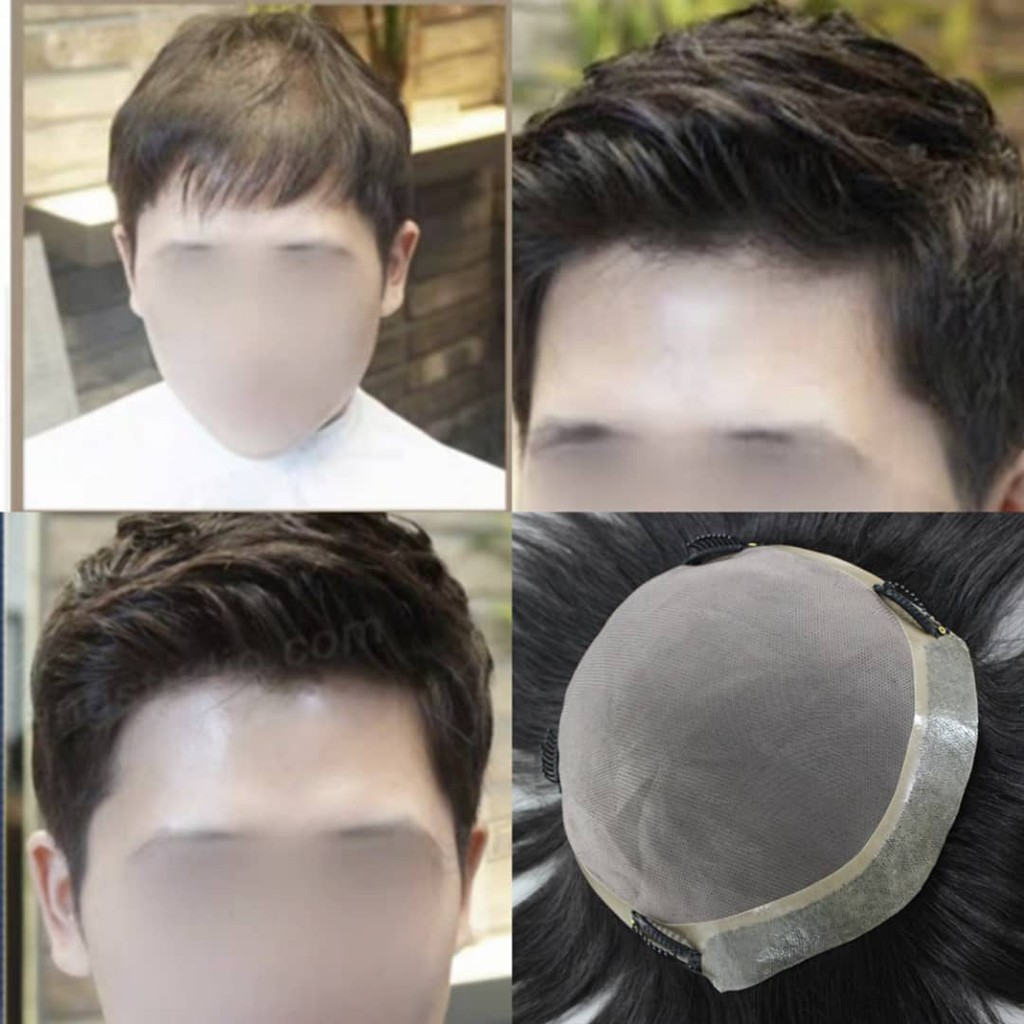 ready stock 100% human hair toupee men toupee men hair loss replacement system thin skin design forehead