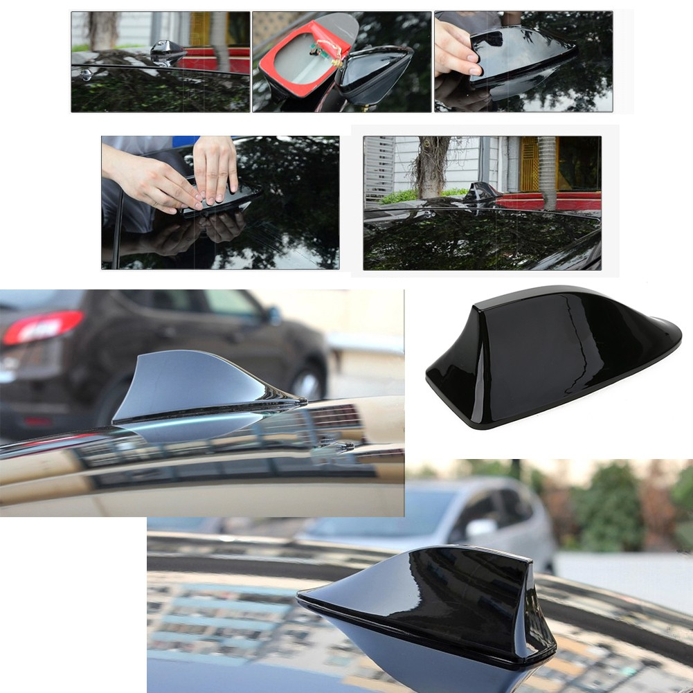 Universal Roof Decorative Car Antenna Shark Fin Radio Signal Fit for Auto Sliver