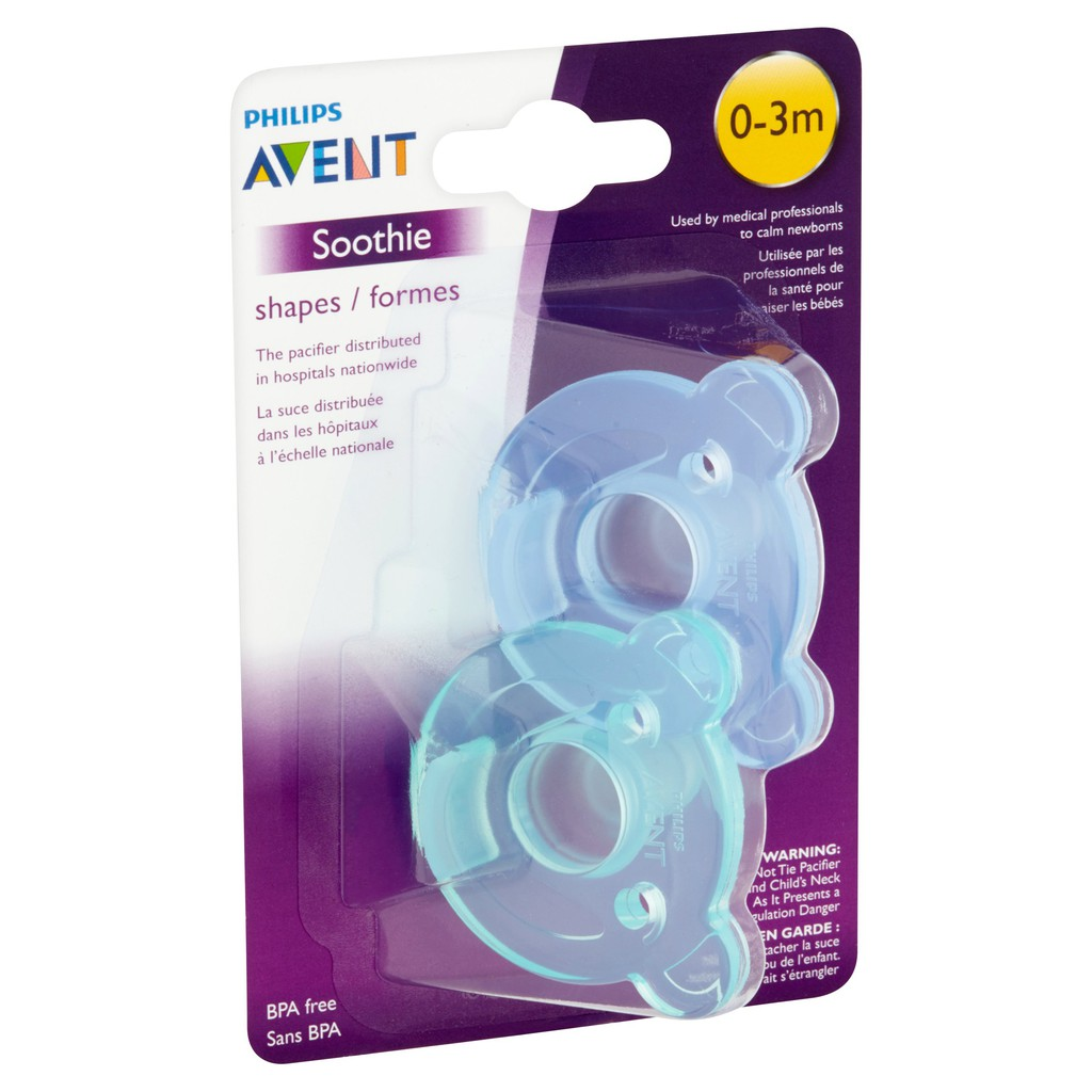 Philips Avent Soothie Bear Shape BPA Free Pacifier 2 Count Blue//Green 3m+