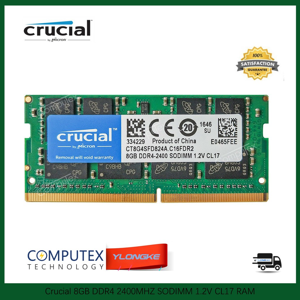 Crucial 16GB 32GB PC4-19200 DDR4 2400 MHz PC4-2400T SO-DIMM 260pin Laptop Memory