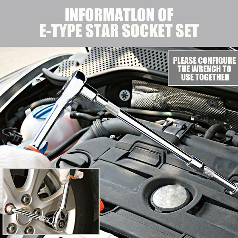 "11 Pc Female E Torx Star Socket Set /& Rail E4-E20 Driver Torque Socket 3//8/"" 1//4/"""