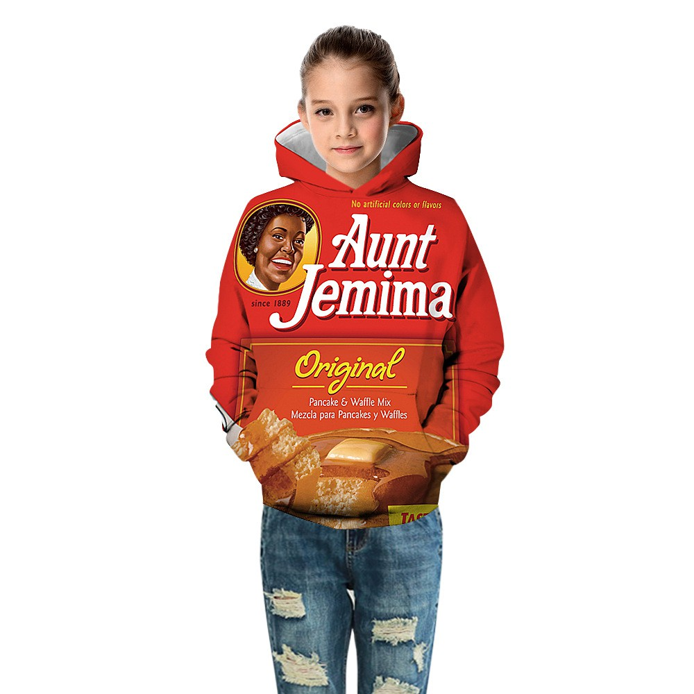 Aunt Jemima 3D printing Children/'s Pull over hooded sweater Hoodie Casual Wear