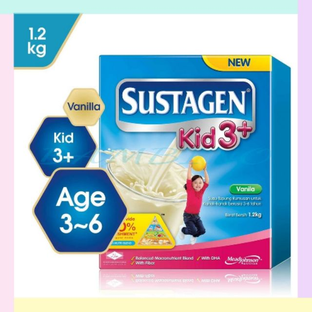 Sustagen Kid 3+ 1.2kg Fav:Vanila exp:2020