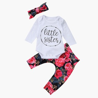 aef342e7c069 Cotton Newborn Baby Girl Tops Romper Flower Pants 3Pcs Outfits Set ...