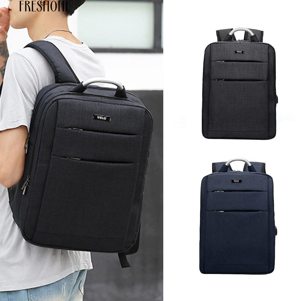 Freshone Men's Oxford Cloth Alloy Handle Business USB Charging Laptop Backpack