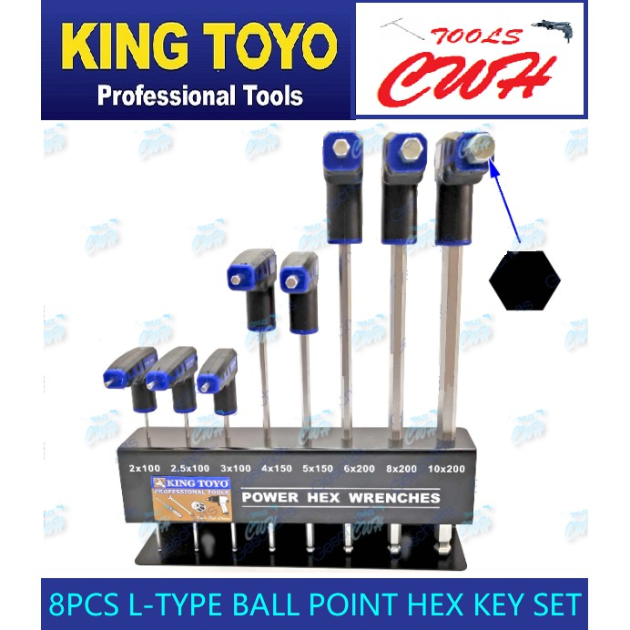 King Toyo KT-LB008 8pcs L-Type Ball Point Hex Key Wrench Set     --------------STANLEY TOPTUL SATAGOOD BONDHUS SATA M10